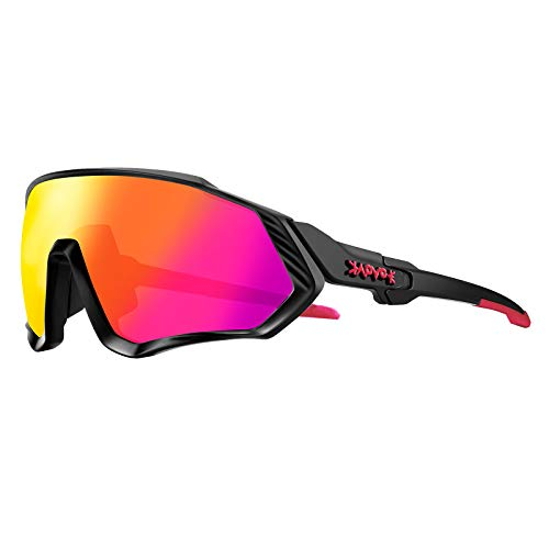 KAPVOE Cycling Glasses Sports Sunglasses Polarized - Protection Biking Goggles Glasses Fishing Golf Baseball Running Mountain Climbing Glasses Tr90 Frame 100% Uv400 Protection (Black Frame/red Lens)