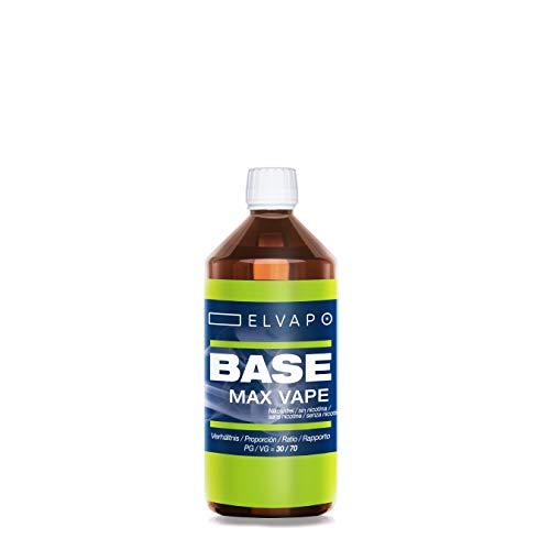 Elvapo 250ml BASE - Max Vape: 30/70 (PG/VG) - Basisliquid für das Mischen von E-Liquids mit Aromen (für E-Zigaretten und E-Shishas) - 0mg (ohne Nikotin) - Liquid-Basen Made in Germany!