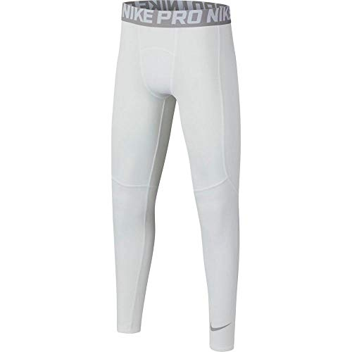 Nike Boy`s Dri-FIT Pro Tights (White(BV3516-100)/Grey, Medium)