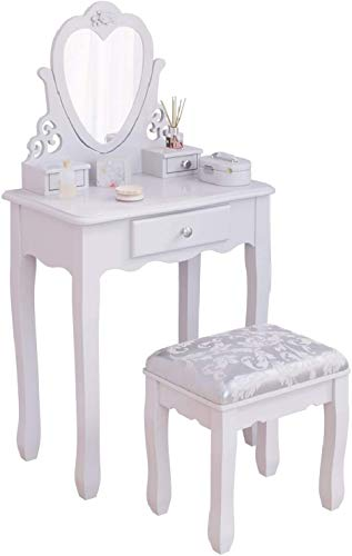 Kids Dressing Table Set, Girls White Vanity Table with Flip Up Heart Mirror, 3 Drawers and Stool for Children's Bedroom, Wood