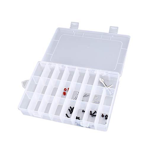 #N/D 24 compartimentos ranuras celdas caja de herramientas portátil piezas electrónicas tornillo cuentas anillo joyería plástico almacenamiento contenedor titular
