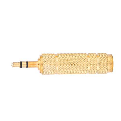 Emoshayoga Convertidor de Conector de Audio Duradero de 3,5 mm Macho a 6,35 mm Hembra para Uso doméstico
