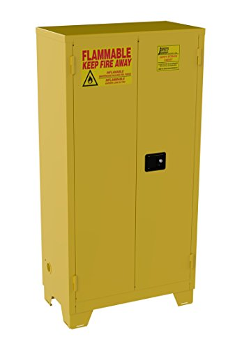 Jamco Products Model FM44 44-Gallon Forkliftable Safety Steel Cabinet for Flammable Liquids Manual Close Doors, (34-Inch x 18-Inch x 70-Inch), Yellow