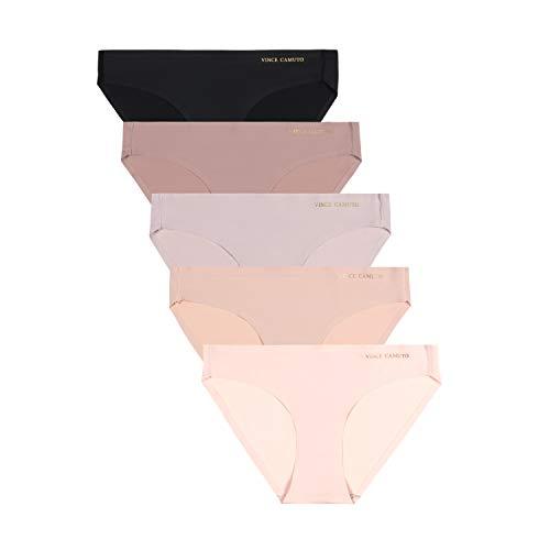 Vince Camuto Women's No Show Microfiber Bikini Panty Underwear Multi-Pack, (5-Pack) Peony/Rose/Lilac/Woodrose/Black, X-Large