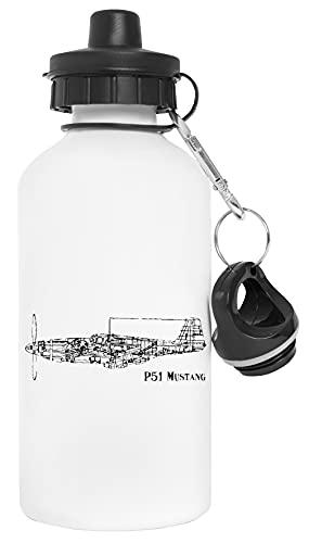 North American P51 Airplane Botella de Agua Blanco Aluminio Reutilizable Water Bottle White Aluminium Reusable