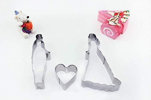HelpCuisine Formine biscotti/Stampi biscotti, Stampini per biscotti/Formine per biscotti a forma di Innamorati/Sposi + un cuore, Realizzati in acciaio INOX di alta Qualità, il set contiene 3 stampini