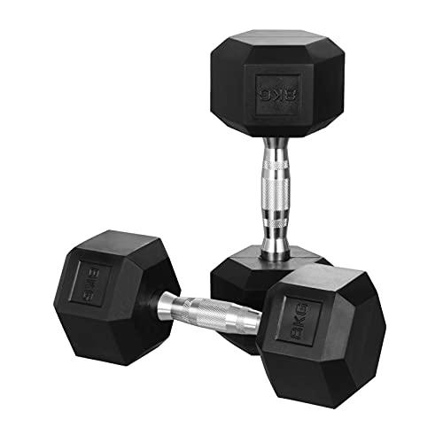 KingSaid 2 mancuernas de goma de 15 kg hexagonales, peso corporal, fitness, entrenamiento, levantamiento de pesas, 15 kg, 1 par