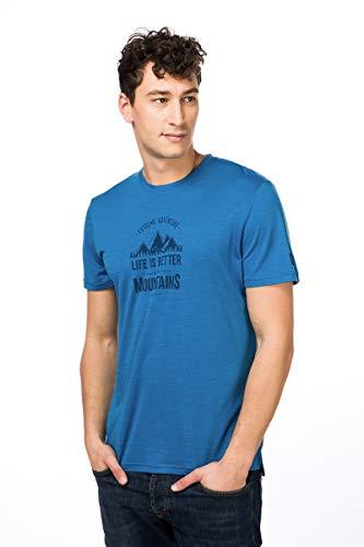 Super.Natural T-Shirt à Manches Courtes pour Homme avec Laine mérinos M Graphic Tee XL Vallarta Bleu/Bleu Marine Blazer Adventure Print.
