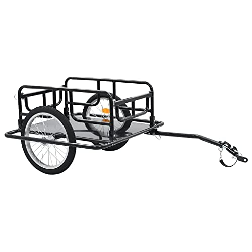 "vidaXL Bike Cargo Trailer Foldable Space Saving Bicycle Vehicle Sporting Accessory 51.2"" Steel Black"