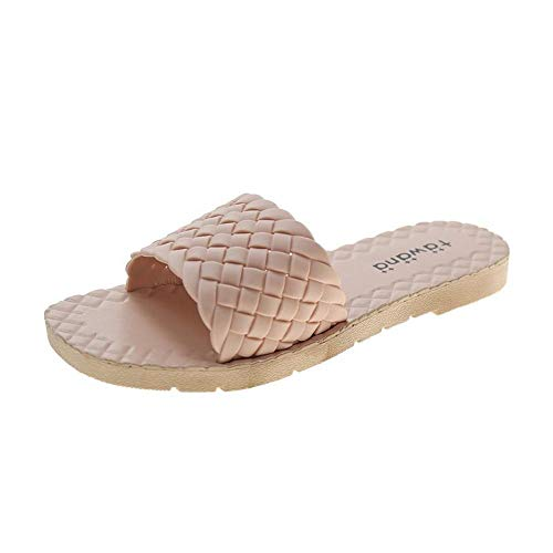 HUSHUI Bañarse Sandalias Zapatillas para Mujer,Sandalias de Playa de Suela Blanda, Pantuflas de Fondo Plano-Pink_36,Zapatos de Playa y Piscina para