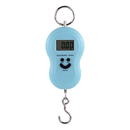 Mini báscula digital de 50 kg X 10 g para equipaje de pesca, peso de viaje, barra de acero colgante, gancho electrónico, báscula, herramienta de peso de cocina, azul