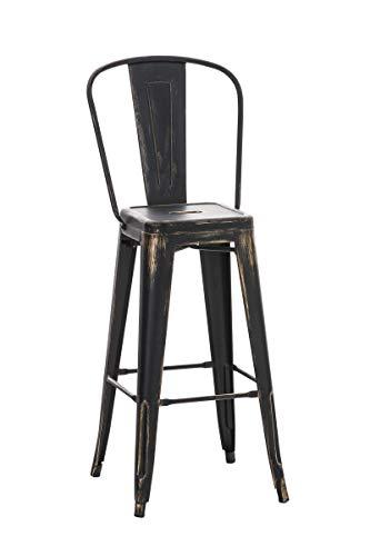 Tabouret de Bar Design Aiden en Métal Robuste I Tabouret de Bar Style Industriel avec Dossier et Repose-Pied I Chaise Haute de Cuisine I Cou, Couleurs:Noir/Or