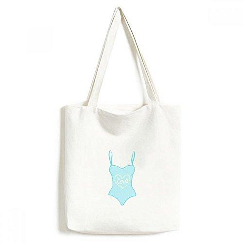 DIYthinker Illustratie Blauw Badpak Milieuwasbaar Winkelen Tote Canvas Tas Craft Gift