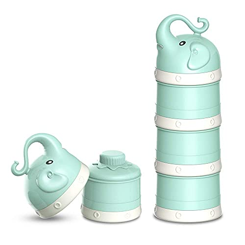 Baby Milk Powder Formula Dispenser,Large Capacity,Non-Spill Twist-Lock Stackable Milk Powder Formula Container and Snack Storage for Travel,Powder Leakage Free,BPA Free,3 Compartment,Green