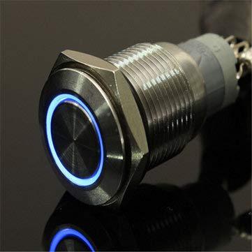 DyNamic 12V 16Mm Vergrendelend Angel Eye Led-Drukknop Platte Kop Metalen Verlichte Drukknopschakelaar - Blauw