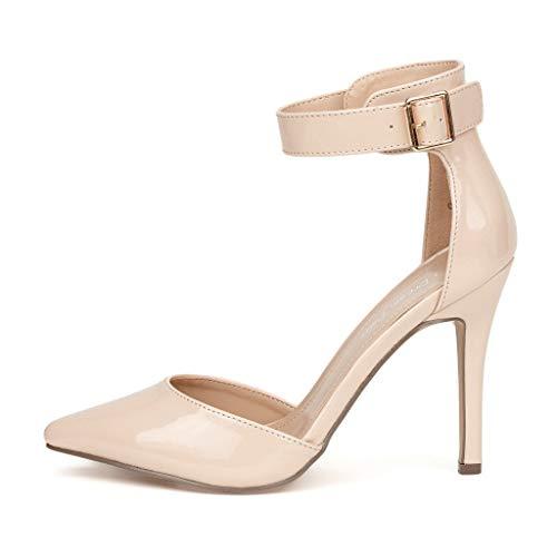 DREAM PAIRS Oppointed-Ankle Zapatos de Tacón Vestir Tobillo Correa para Mujer Desnudo Charol 38.5 EU/7.5 US