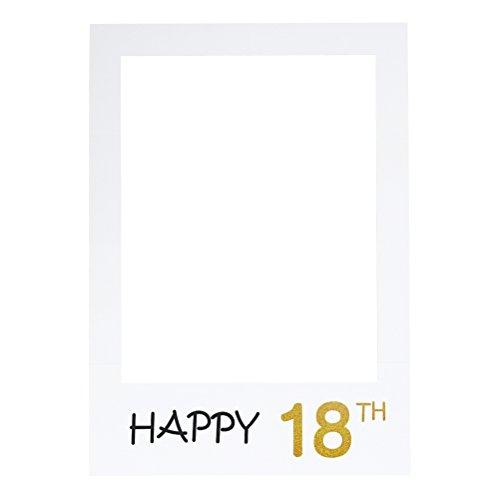 LUOEM Happy 18th Birthday Anniversary Picture Selfie Frame Ritagli Photo Booth Props per la Festa di Anniversario di Compleanno di Compleanno