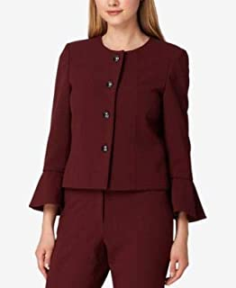 TAHARI Womens Burgundy Bell Sleeve Jacket US Size: 18