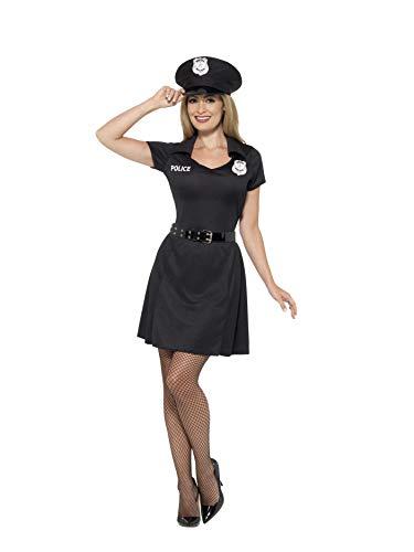 Smiffys 45505S - Damen Polizei Kostüm, Kleid, Hut und Gürtel, Größe: 36-38, schwarz