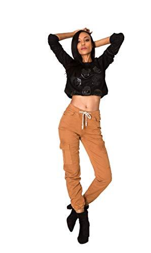 Crazy Age Dames cargobroek vrouwenbroek zoom met elastische band Bundeswehrbroek Securtiy broek zwarte broek coole broek