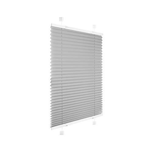 Victoria M. Easyfix Plissee Faltrollo ohne Bohren Plisseeanlage Klemmfix mit Klemmträger für Fenster und Türen, Größe: 85 x 120 cm, Farbe: Grau