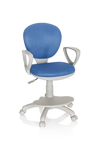 hjh OFFICE 671010 Kinderdrehstuhl Kid Colour G1 Stoff Blau/Grau Bürostuhl Kinder, Fußablage & Sitzfläche höhenverstellbar