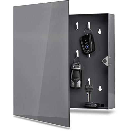 Schlüsselkasten mit Glas Magnettafel - Memoboard inkl. 6 Magnete, 35x35x6,5 cm - anthrazit