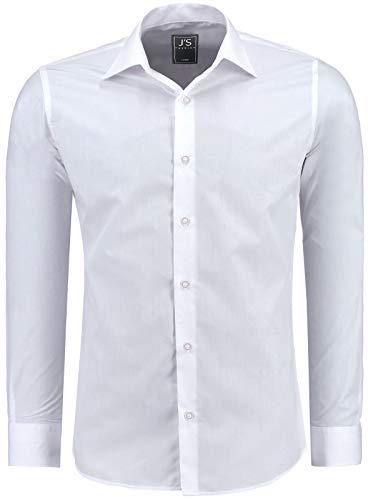 J'S FASHION Herren-Hemd - Vergleichssieger 2019* - Slim-Fit - Langarm-Hemd - Bügelleicht - EU Größen: S bis 6XL - Weiß L