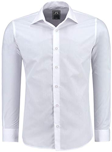 J'S FASHION Herren-Hemd - Vergleichssieger 2019* - Slim-Fit - Langarm-Hemd - Bügelleicht - EU Größen: S bis 6XL - 1-Weiß M