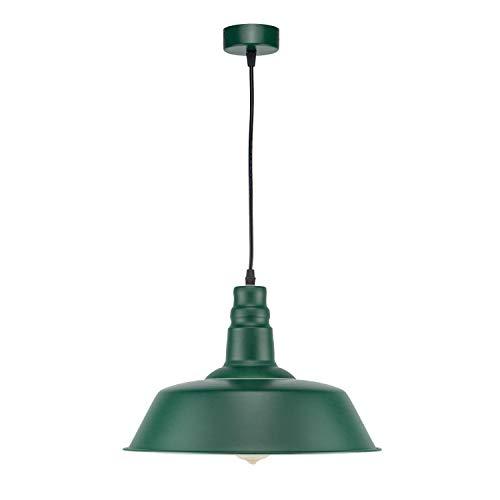 Lámpara de Techo RETRO Luz Colgante LED Moderno Industrial (Bombilla No incluida) E27 Luz de Comedor Luz Vintage para Sala Bar Decoración Restaurante Interior, Color Verde
