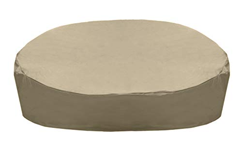 SunPatio Daybed Cover, Outdoor Round Canopy Daybed Sofa Cover, Heavy Duty Waterproof Patio Furniture Cover with Seam Taped, Fade Resistant Material, Helpful Air Vent, 88'L x 85'W x 35'H, Neutral Taupe