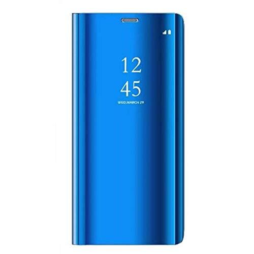 Carcasa Compatible/Reemplazo para Xiaomi Mi 9 SE Funda Tapa Libro Flip Clear 360° Protectora Caso Modelo Fecha Espejo Translúcido Slim PC Duro Anti-Scratch Teléfono Cubierta (Azul)