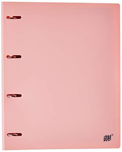 Fichário 4 Argolas A4, YES, R4EABCROS, Tons Pastel, com 96 Folhas e 5 Divisórias, Rosa