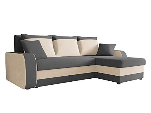 Ecksofa Kristofer, Design Eckcouch Couch! mit Schlaffunktion, Zwei Bettkasten, Farbauswahl, Wohnlandschaft! Bettfunktion! L-Form Sofa! Seite Universal! (Mikrofaza 0027 + Mikrofaza 0031.)