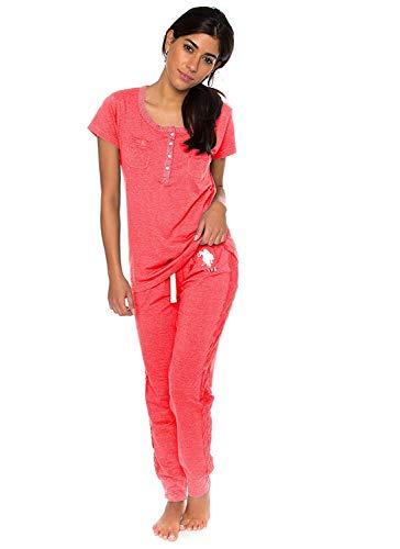U.S. Polo Assn. Womens Short Sleeve Shirt and Long Pajama Pants Sleepwear Set Georgia Peach Heather Large