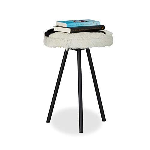 Relaxdays 10021522 Fourrure Poils 3 Repose Tabouret Rond Pieds métal chèvre HxlxP: 45x35x35 cm, Noir/Blanc, 46 x 35 x 35 cm