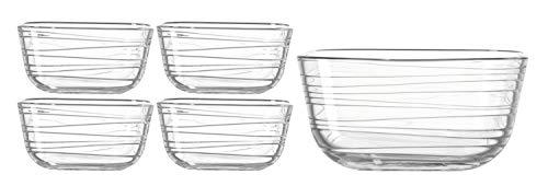 Leonardo Gusto Struttura Starter-Set Schale (2,4 l) mit Schälchen (500 ml), 5-teilig, Klarglas mit Struktur, 038120