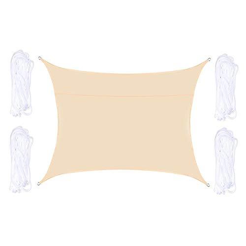 W.Z.H.H.H Schattensegel Wasserdicht Rechteck Sun Sonnensegel Net Patio-Garten-Pool-Abdeckung Markise Vordach im Freien Sun Shelter Sonnenschutztuch. (Color : Beige, Size : Kostenlos)