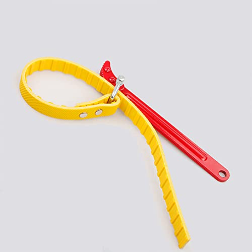 Hezhu Llave de cinta para filtro de aceite, llave inglesa, llave de correa, tubos, ajustable, herramienta de mano para filtro de apertura, utilizado por mecánicos y fontaneros (12 pulgadas)