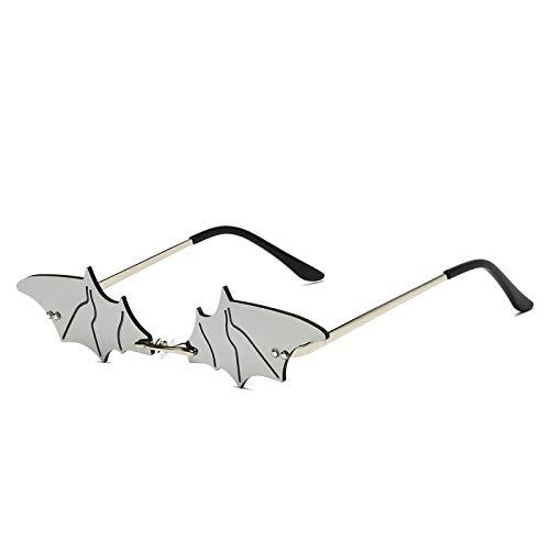 NJJX Gafas De Sol De Moda Para Mujer, Gafas De Sol De Murciélago Sin Montura De Metal, Gafas De Sol Con Espejo Para Mujer, Gafas 01