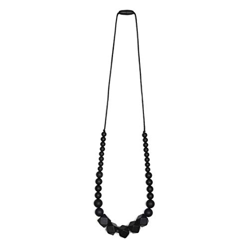 Price comparison product image Goobie Baby Madison Silicone Teething Necklace for Mom to Wear,  Nursing Necklace Chew Bead (Gift Box Packaging Black)