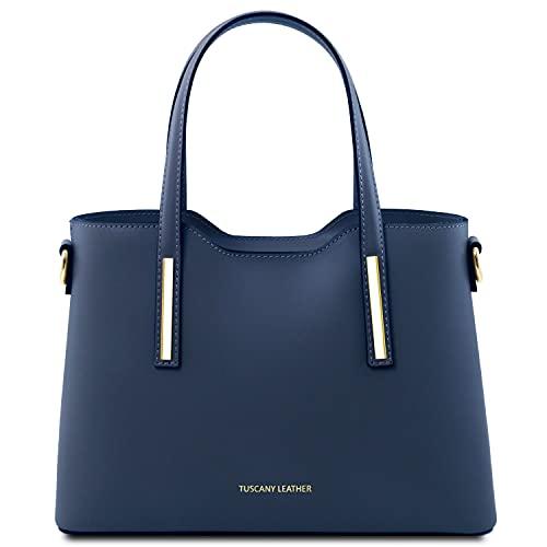Tuscany Leather Olimpia Borsa a mano in pelle - Misura piccola Blu scuro