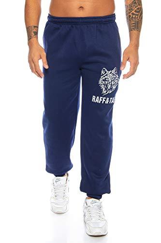 Raff&Taff Herren Hose \'Winter Wolf\' M - 4XL | Sporthose Sweatpants Pyjamas Übergrößen Funtionshose Trainingshose Jogginghose | Premium Baumwolle (Navy, 3XL)