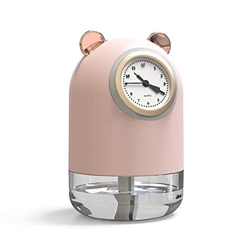 Humidificador mini USB reloj de cuarzo humidificador ultrasónico de 300 ml, humidificador silencioso portátil con función de luz nocturna para niños, casa, dormitorio, oficina, rosa