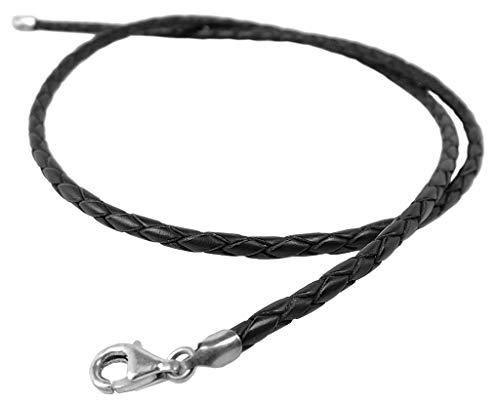 Minott Leder-Band Kette Halsband schwarz 50cm / geflochten, silberfarbener Verschluss 32524
