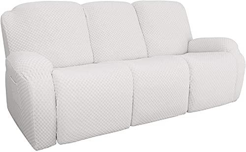 ANHZCZ Funda De Sillón Relax Elásticas Recliner Cover, Ultra Suave Jacquard Antideslizante Lavable Protector De Muebles con Bolsillo Lateral, para Sillón reclinable (Blanco,3 Personas)