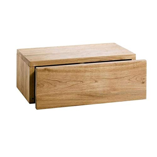 Cajón de pared de roble, estante flotante con mostrador de pared de cajón / almacenamiento de DVD, estante montado en la pared Caja de almacenamiento de cajón flotante, cómoda dormitorio Notenstand de