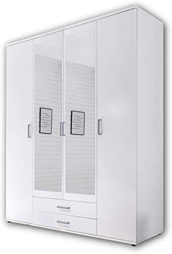 Armadio con specchio porta classica, spazio di memoria di massa, multifunzionale armadio battente porta con due cassetti,White-4 doors