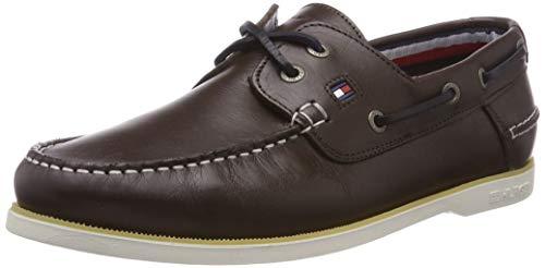 Tommy Hilfiger Classic Leather Boatshoe, Zapatos de Vela. para Hombre, Marrón (Coffee Bean 212), 42 EU