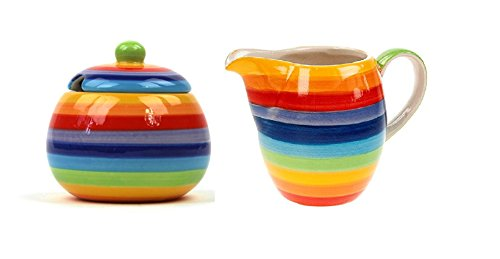 Set di zuccheriera e lattiera in ceramica color arcobaleno a righe